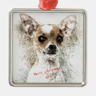 Chihuahua-Skizze-Haustier-Porträt Quadratisches Silberfarbenes Ornament