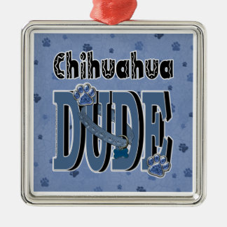 Chihuahua TYP Quadratisches Silberfarbenes Ornament