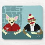 Chihuahua u. Socken-Affe Mousepads