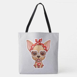 Chihuahua unter dem Mantel einer Retro Schönheit Tasche