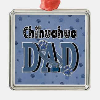 Chihuahua VATI Quadratisches Silberfarbenes Ornament