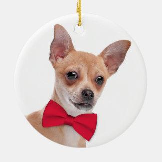 Chihuahua-Weihnachtsverzierung Rundes Keramik Ornament
