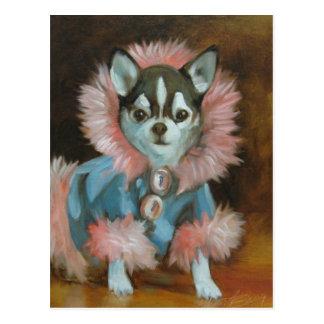 Chihuahuawelpe mit rosa und blauer Jacke Postkarte