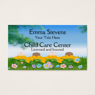 Child Care Baby Flowers Business Card Template Visitenkarte