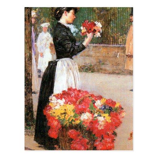 Childe Hassam - Blumenmädchen Postkarte