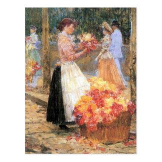 Childe Hassam - Frau verkauft Blumen Postkarte