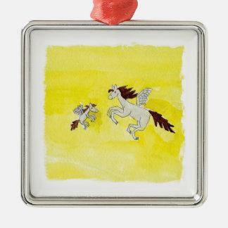 Childish Watercolor, der mit Winged Pferden Silbernes Ornament