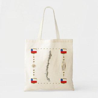 Chile-Karte + Flaggen-Tasche Tragetasche