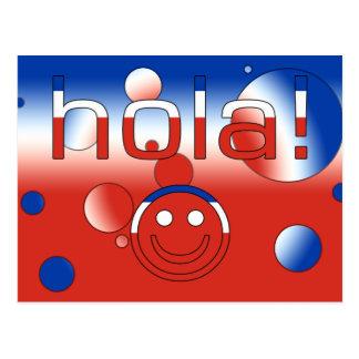 Chilenische Geschenke: Hallo/Hola + Smiley Postkarte
