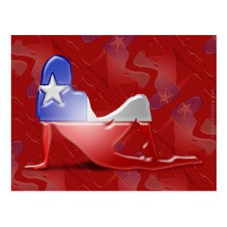 Chilenische Mädchen-Silhouette-Flagge Postkarte