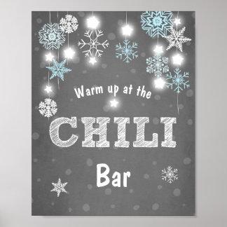 Chili-Barzeichen blaue Winter-Schneeflocken kühler Poster