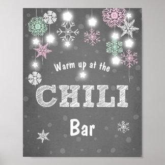 Chili-Barzeichen Rosa-Minzen-Winterschneeflocken Poster
