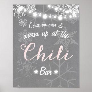 Chili-Barzeichen Rosa-Schneeflocke kühler Poster