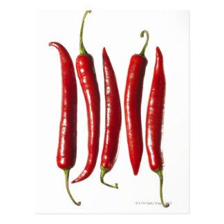 Chili-Paprikaschoten in einer Reihe Postkarte