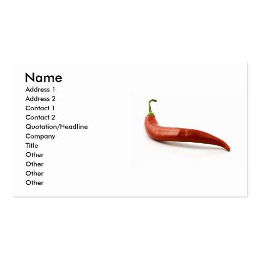 Chili-Pfeffer-Geschäfts-Karte Visitenkartenvorlagen