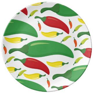Chilipfeffermuster Teller Aus Porzellan