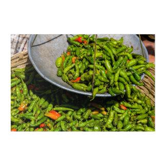 Chilis am Markt für Verkauf Acryl Wandkunst