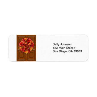 ChiliWreath auf hölzerner Tür
