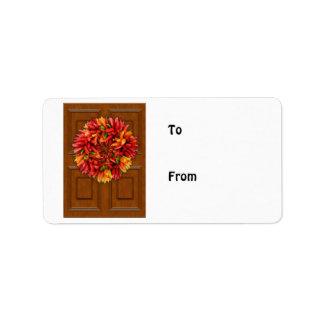ChiliWreath auf hölzerner Tür Adressaufkleber