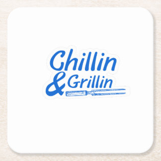 Chillin u. Grillin Sommer GRILLEN Rechteckiger Pappuntersetzer
