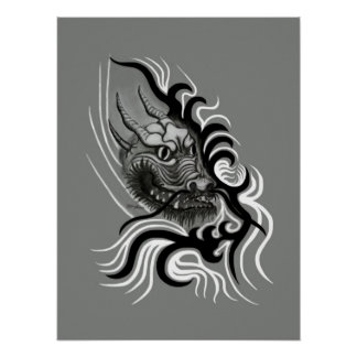China-Drache in Tattoo Style Poster