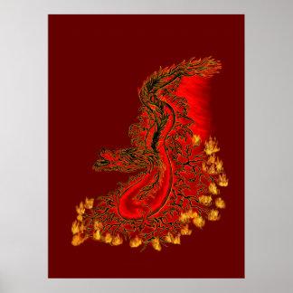 China-Dracherot und Goldentwurf Poster