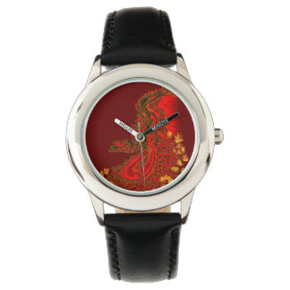 China-Dracherot und Goldentwurf Uhr