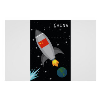 China-Flaggen-Rocket-Schiff Poster