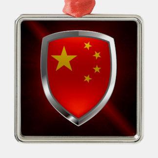 China-metallisches Emblem Quadratisches Silberfarbenes Ornament