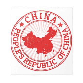 Chinakarte Notizblock