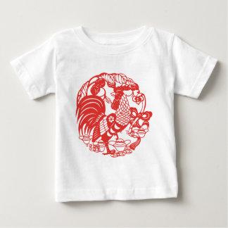 Chinese Papercut Hahn-Jahr 2017 Baby T-shirt