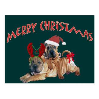 Chinese Shar-pei frohe Weihnacht-Geschenke Postkarte