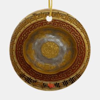 Chinesische Blumenplakette Keramik Ornament