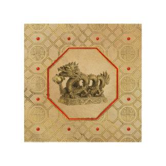 Chinesische Feng-shuidrache-Goldstatue Holzleinwand