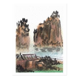 Chinesische Fluss-Landschaftspostkarte Postkarten