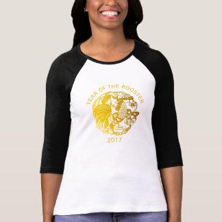 Chinesische Hahn-Jahr 2017 goldene papercut Frauen T-Shirt