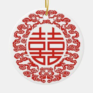Chinesische Hochzeit des glücklichen roten Keramik Ornament