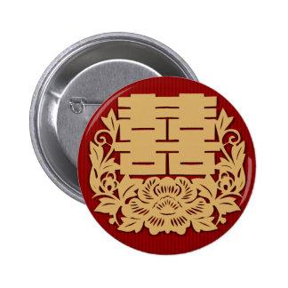 Chinesische Hochzeit mit doppeltem Glück und Blume Runder Button 5,7 Cm