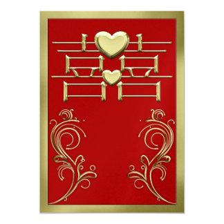 Chinesische Hochzeits-Einladungs-Karte 12,7 X 17,8 Cm Einladungskarte