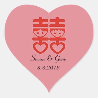 Chinesische Hochzeits-Herz-Aufkleber Herz-Aufkleber