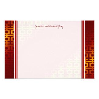 Chinesische Hochzeits-rotes doppeltes Briefpapier