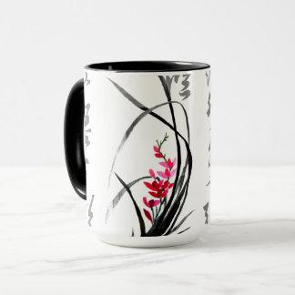Chinesische Kalligraphie mit eleganter Orchidee Tasse