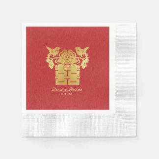 Chinesische Liebe-Vogel-doppeltes Glück-Symbol Papierserviette