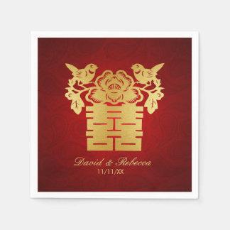 Chinesische Liebe-Vogel-doppeltes Glück-Symbol Papierservietten