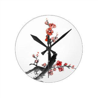Chinesische Malerei der Blumen, Pflaumenblüte Wanduhr