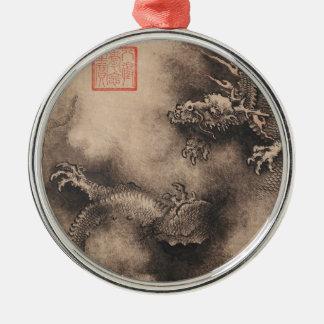 Chinesische Malerei für Drache-Jahr 2024 Silbernes Ornament