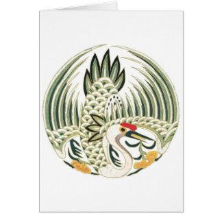 Chinesische Reiher-Folklore-Vogel-Kunst Karte