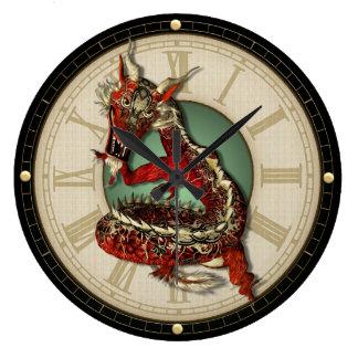 Chinesische rote Drache-Wanduhr Große Wanduhr