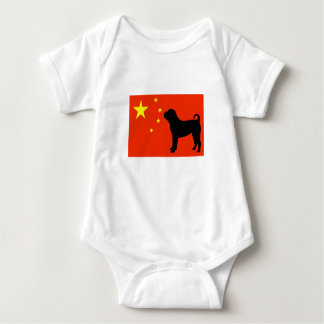 chinesische shar pei Silo Chinaflagge Baby Strampler