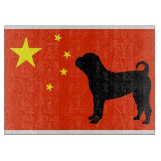 chinesische shar pei Silo Chinaflagge Schneidebrett